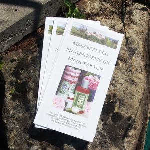 Flyer (folder) Maienfelser Naturkosmetik Manufaktur